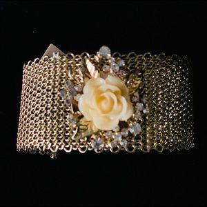 Amrita Singh Floral Mesh Cuff Bracelet